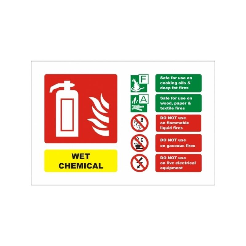 wet chemical fire extinguisher signs