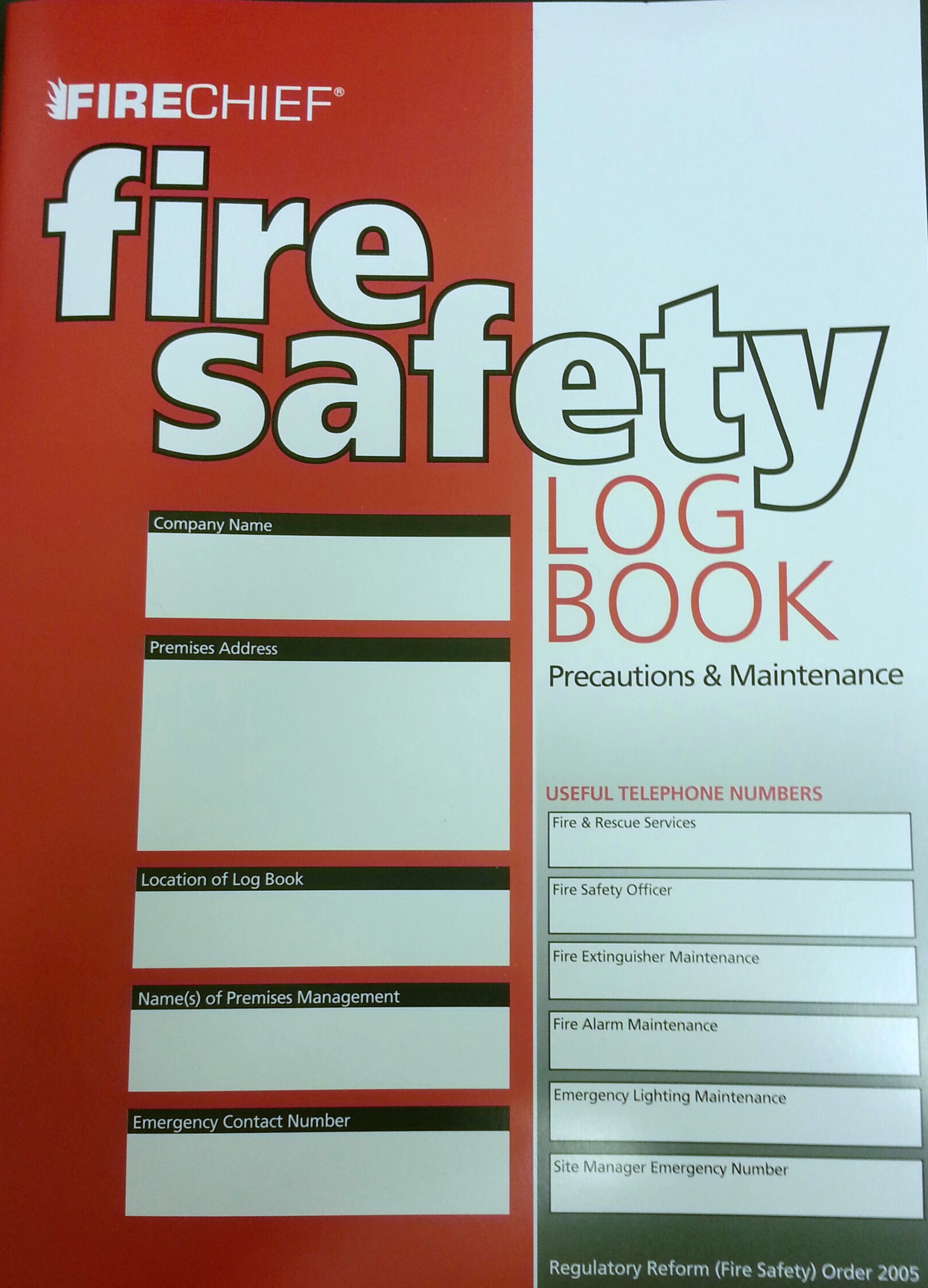 a4 fire safety log book