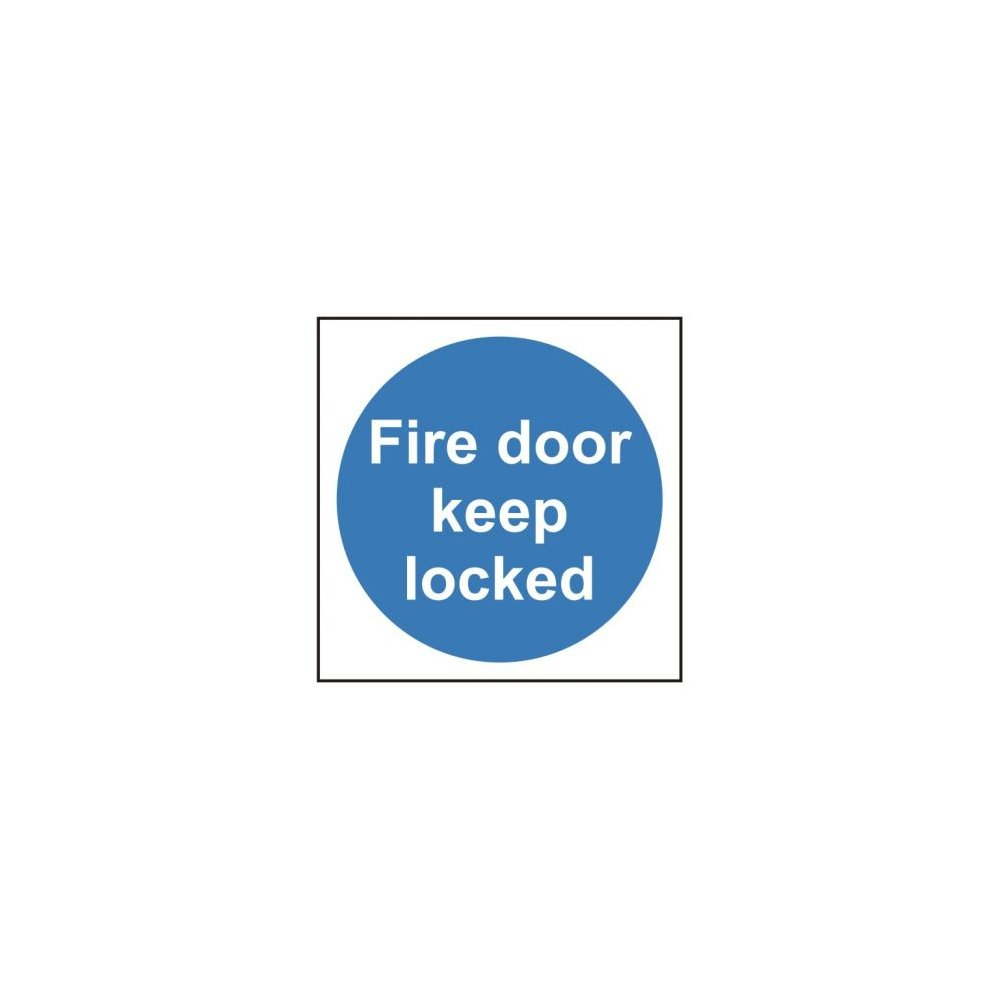 Automatic fire door keep locked signage